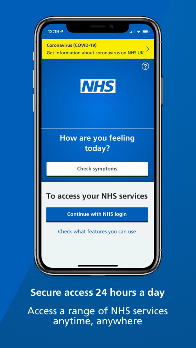 Download the NHS App to access a range of NHS services anytime, anywhere, click link to be redirected to the NHS website