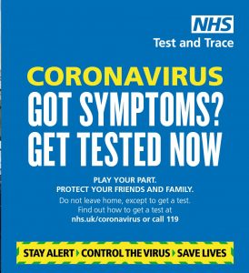 Got Coronavirus symptoms? Get tested now, click this link to be redirected to the NHS website